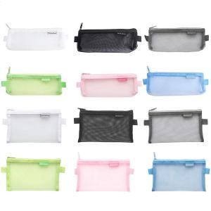 Hantier 12 パック メッシュペンケース 筆箱 ジッパーメッシュポーチ ファイルバッグ 化粧品ポーチ 小物入れ 収納 無地 透明 大容量 カラ|relawer
