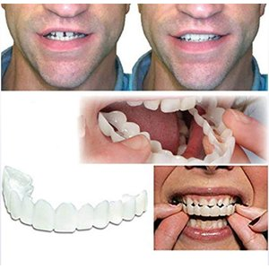 ベニアの歯、化粧用の歯3ピース - 一時的なスマイルコンフォートフィットフレックスコスメティック歯、一サイズは、最も快適なトップとボトムのベニヤにフィ