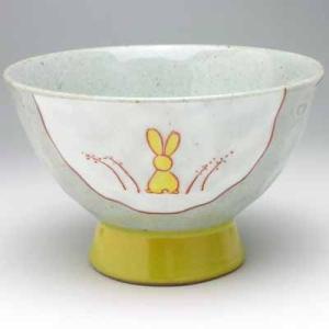 有田焼 手作りうさぎ 飯碗