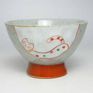 ご飯茶碗 有田焼手作りねこ飯碗