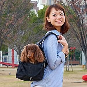 バックパックキャリー フルカバー Mサイズ ブラック (犬用キャリーバッグ) o relish