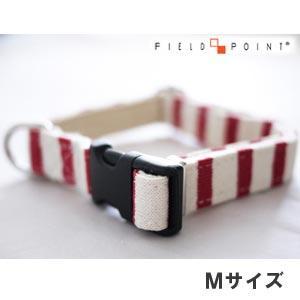 フィールドポイント ニットボーダーカラーレッド×ホワイトMサイズ(犬用首輪) (メール便可) n relish