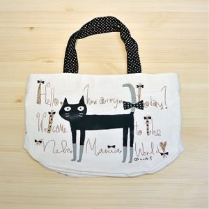 (メール便OK)ノアファミリー 黒猫ミニトートバッグねこ雑貨 ネコ雑貨 猫雑貨 ねこグッズ ネコグッズ 猫グッズ ランチバッグ|relish