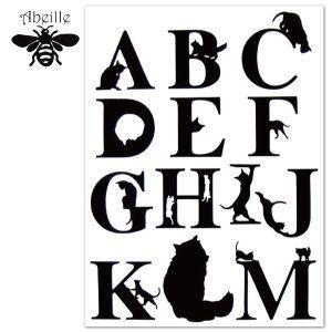 Aveille アルファベットステッカー ネコ A-M AWS-1010 黒猫アイアンシリーズ ねこ雑貨 ネコ雑貨 猫雑貨 ねこグッズ ネコグッズ 猫グッズ クロネコ|relish