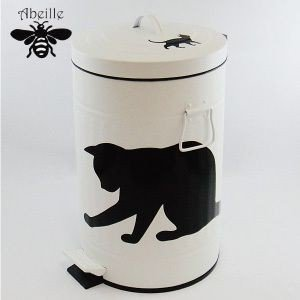 Aveille ダストビンS ネコ ホワイト ABT-2354 黒猫アイアンシリーズ ねこ雑貨 ネコ雑貨 猫雑貨 ねこグッズ ネコグッズ 猫グッズ クロネコ|relish