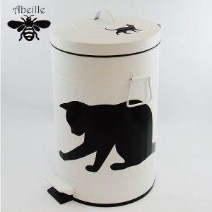 Aveille ダストビンL ネコ ホワイト ABT-4554 黒猫アイアンシリーズ ねこ雑貨 ネコ雑貨 猫雑貨 ねこグッズ ネコグッズ 猫グッズ クロネコ|relish