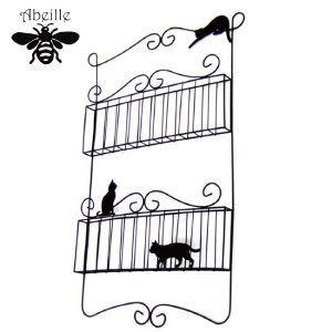 Aveille ウォールポケット2段 ネコ ブラック AHW-1454 黒猫アイアンシリーズ ねこ雑貨 ネコ雑貨 猫雑貨 ねこグッズ ネコグッズ 猫グッズ クロネコ relish