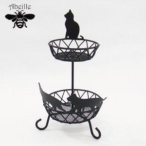 Aveille アクセトレイ2段 ネコ ブラック ACW-1334 黒猫アイアンシリーズ ねこ雑貨 ネコ雑貨 猫雑貨 ねこグッズ ネコグッズ 猫グッズ クロネコ relish