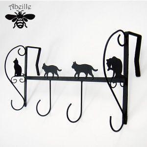 Aveille 4連ドアハンガー ネコ ブラック AIH-1255 黒猫アイアンシリーズ ねこ雑貨 ネコ雑貨 猫雑貨 ねこグッズ ネコグッズ 猫グッズ クロネコ relish