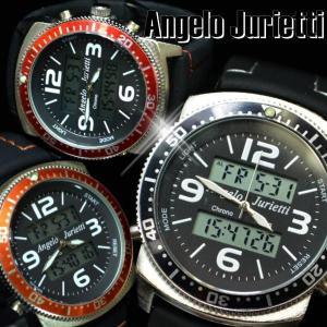 腕時計 メンズ レディース Angelo Jurietti AJ7100 カラーステッチ&デジタルフェイス ラバーベルト|remake