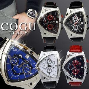 腕時計 メンズ 人気 ブランド COGU コグ アシンメトリー クロノグラフ C43 レザー 革ベルト remake