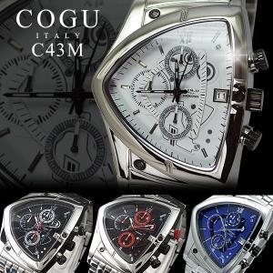 腕時計 メンズ 人気 ブランド COGU コグ アシンメトリー クロノグラフ C43M メタルベルト ベルト調整工具付き remake