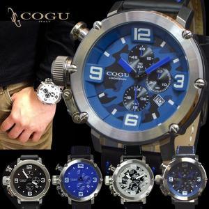 [新色入荷]腕時計 メンズ COGU コグ クロノグラフ デイト付き 本革ベルト レザーベルト メンズ 腕時計 ITALY イタリア C61 送料無料 remake