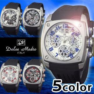 腕時計 メンズ 人気 ブランド クロノグラフ ラバーベルト Dolce Medio ドルチェメディオ DM12203|remake