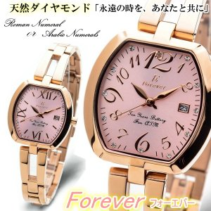 腕時計 レディース 天然ダイヤモンド Forever フォーエバー ベルト調整可能 5気圧防水 電池寿命10年 トノー ピンクゴールド 送料無料|remake