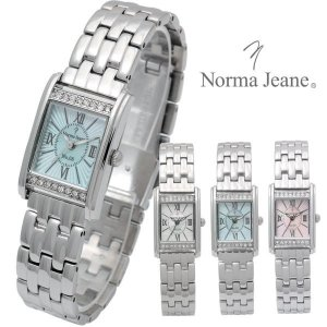 腕時計 レディース Norma Jeaneノーマ・ジーン オールステンレス キューブジルコニア パヴェ メタルバンド 天然シェル ベルト調整具付|remake