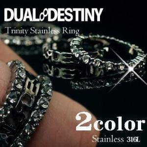 指輪 リング メンズ レディース 人気 DUALDESTINY ロゴ×クリスタルエタニティ3連トリプルリング|remake