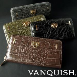 VANQUISH ヴァンキッシュ 長財布 財布 クロコ型押しデザイン ラウンドファスナーウォレット レディース 長財布 VQL-90070 remake