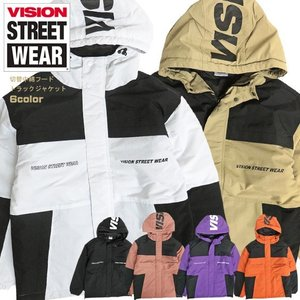 VISION STREET WEAR マウンテンパーカー 切替 中綿トラックジャケット ロゴプリント...