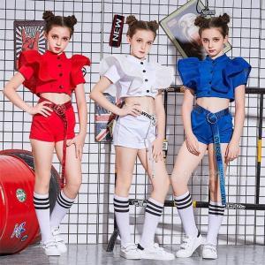 ベルト付き 激安販売 キッズダンス衣装 セットアップ チアダンス衣装 ダンス衣装 ヒップホップ チア...