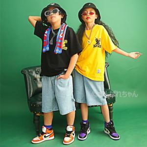 ジャズダンス 衣装 ヒップホップ HIPHOP キッズ ダンス 衣装 練習着 デニムパンツ ショート...