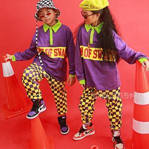 キッズダンス衣装 ヒップホップ HIPHOP セットアップ 男の子 女の子 チェック柄 トップス チ...