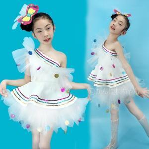 チアリーディング キッズチアダンス衣装 ダンスウェア ジュニア ジャズダンス衣装 スパンコール きらきら チュチュスカート 女の子 ガールズ チアガール 応援団 rensei