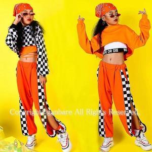 ヘッダスカーフ贈り チェック柄 キッズダンス衣装 タンクトップ ショート丈 へそ出し トップス オレンジ ダンス 衣装 ガールズ ダンス ガウチョパンツ hiphop