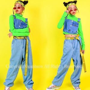 蛍光色シャツ パーカー ジャズダンス キッズ ダンス衣装 ヒップホップ 上下 セットアップ デニムズボン サルエルパンツ HIPHOP 演出服 長袖 ステージ衣装 練習着