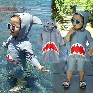 水着 女の子 男の子 キッズ 子供服 サメ柄 サロペット 長袖 ロンパース 帽子付き オールインワンプール ビーチ 夏 海水浴 練習用 ベビー|rensei