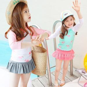 水着 セパレート キッズ 3点セット 女の子 ラッシュガード 上下セット スイムキャップ 長袖 スカパン 帽子付 uvカット 子供|rensei