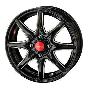 リヴァッツァ コルセ ソリッドブラック 175/65R15 国産タイヤ ホイール4本セット アクア スペイド キューブ フィット 送料無料|rensshop