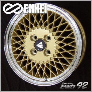 送料無料 ENKEI エンケイ 92 メッシュ ゴールド 165/55R15 国産 タイヤホイール4本セット N-BOX タント スペーシア|rensshop
