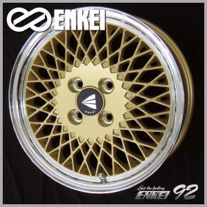 アクア ヴィッツ フィールダー キューブ スペイド ENKEI エンケイ 92 ゴールド ネオクラシック メッシュ 195/50R16 国産タイヤ 送料無料|rensshop