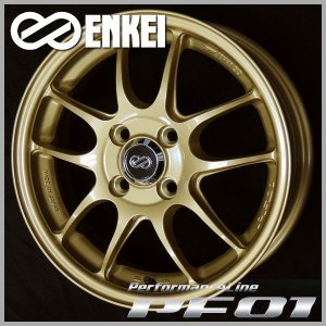 ENKEI エンケイ PF01 ゴールド 195/50R16 アクア ヴィッツ フィールダー キューブ スペイド インサイト グレイス 送料無料|rensshop