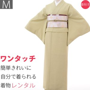 着物 レンタル 袋帯 セット Mサイズ レディース 江戸小紋 緑 ゴマ文|rental-kimono