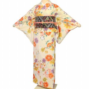 着物 レンタル XS クリーム 橘 ワンタッチ 簡単 着物 パーティー|rental-kimono