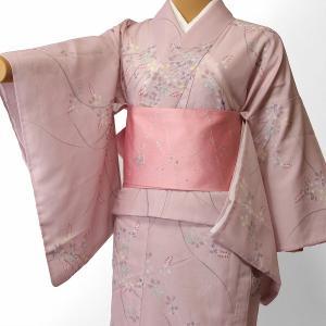 夏物 絽 薄物 着物 レンタル Mサイズ レディース ピンク 萩 rental-kimono
