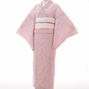 夏物 絽 薄物 着物 レンタル M ワンタッチ 簡単 ピンク 萩 rental-kimono