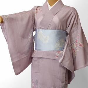 夏物 紗紬 薄物 着物 レンタル Mサイズ レディース 赤紫 桔梗 rental-kimono