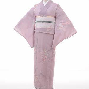 夏物 紗紬 薄物 着物 レンタル M ワンタッチ 簡単 赤紫 桔梗 rental-kimono