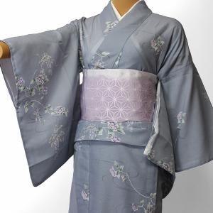 夏物 絽 薄物 着物 レンタル Mサイズ レディース 青グレー 萩 rental-kimono