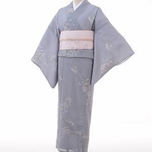 夏物 絽 薄物 着物 レンタル M ワンタッチ 簡単 青グレー 萩 rental-kimono
