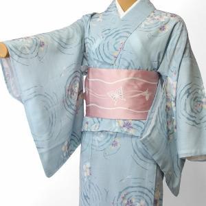 夏物 紗紬 薄物 着物 レンタル Mサイズ レディース 水色 トンボ rental-kimono