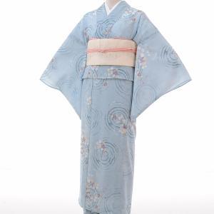 夏物 紗紬 薄物 着物 レンタル M ワンタッチ 簡単 水色 トンボ rental-kimono
