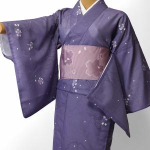 夏物 絽 薄物 着物 レンタル Mサイズ レディース 紺 雪輪 rental-kimono