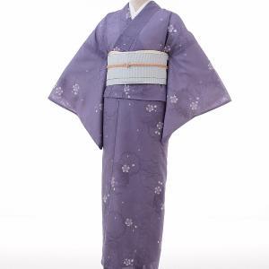 夏物 絽 薄物 着物 レンタル M ワンタッチ 簡単 紺 雪輪 rental-kimono