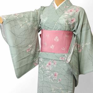 夏物 紗紬 薄物 着物 レンタル Mサイズ レディース 緑 露草 rental-kimono