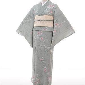 夏物 紗紬 薄物 着物 レンタル M ワンタッチ 簡単 緑 露草 rental-kimono
