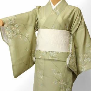 夏物 絽 薄物 着物 レンタル Mサイズ レディース 黄緑 萩 rental-kimono